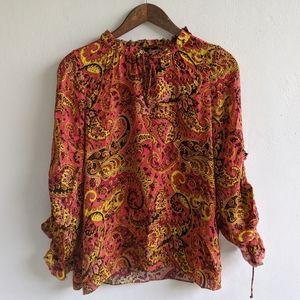 Kobi Halperin Silk Paisley Peasant Blouse Medium